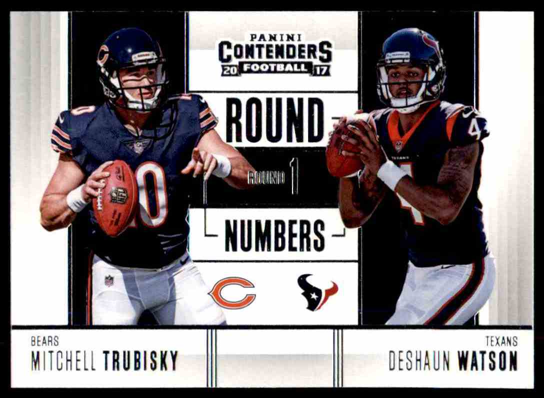 2017 Panini Contenders Round Numbers Mitchell Trubisky Deshaun Watson #RN-1 card front image