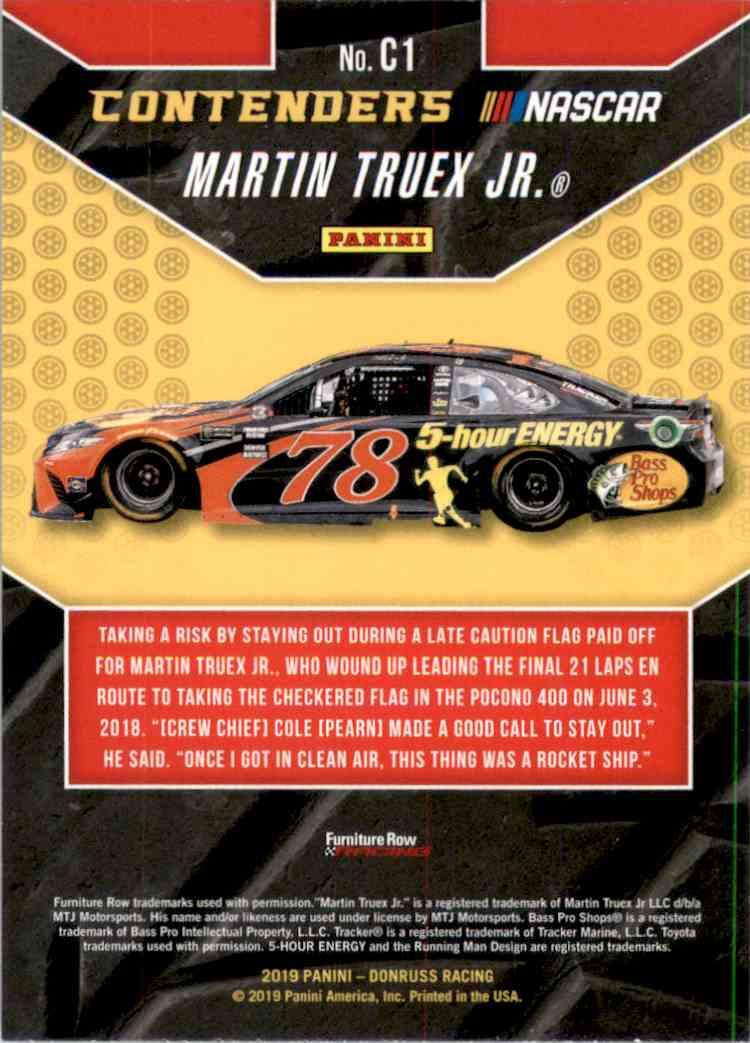 2019 Donruss Contenders Martin Truex JR. #C1 card back image