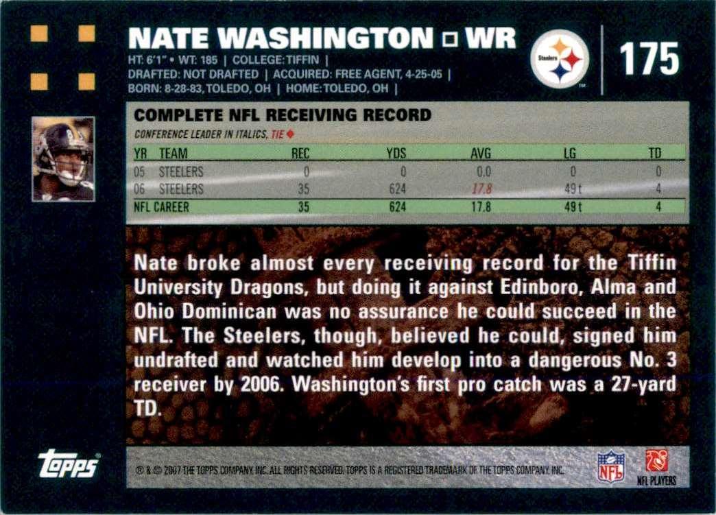 2007 Topps Nate Washington #175 card back image