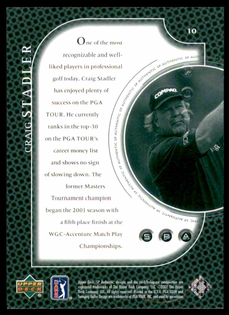2001 SP Authentic Preview Craig Stadler #10 card back image