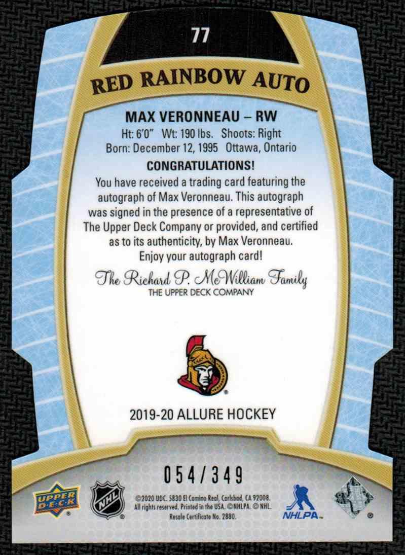 2019-20 Upper Deck Allure Red Rainbow Auto Max Veronneau #77 card back image