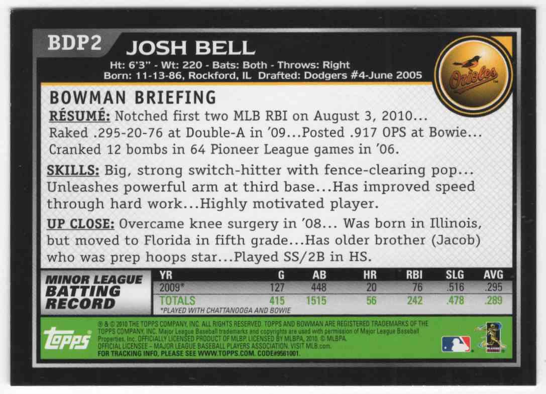 2010 Bowman Draft Josh Bell #BDP2 card back image