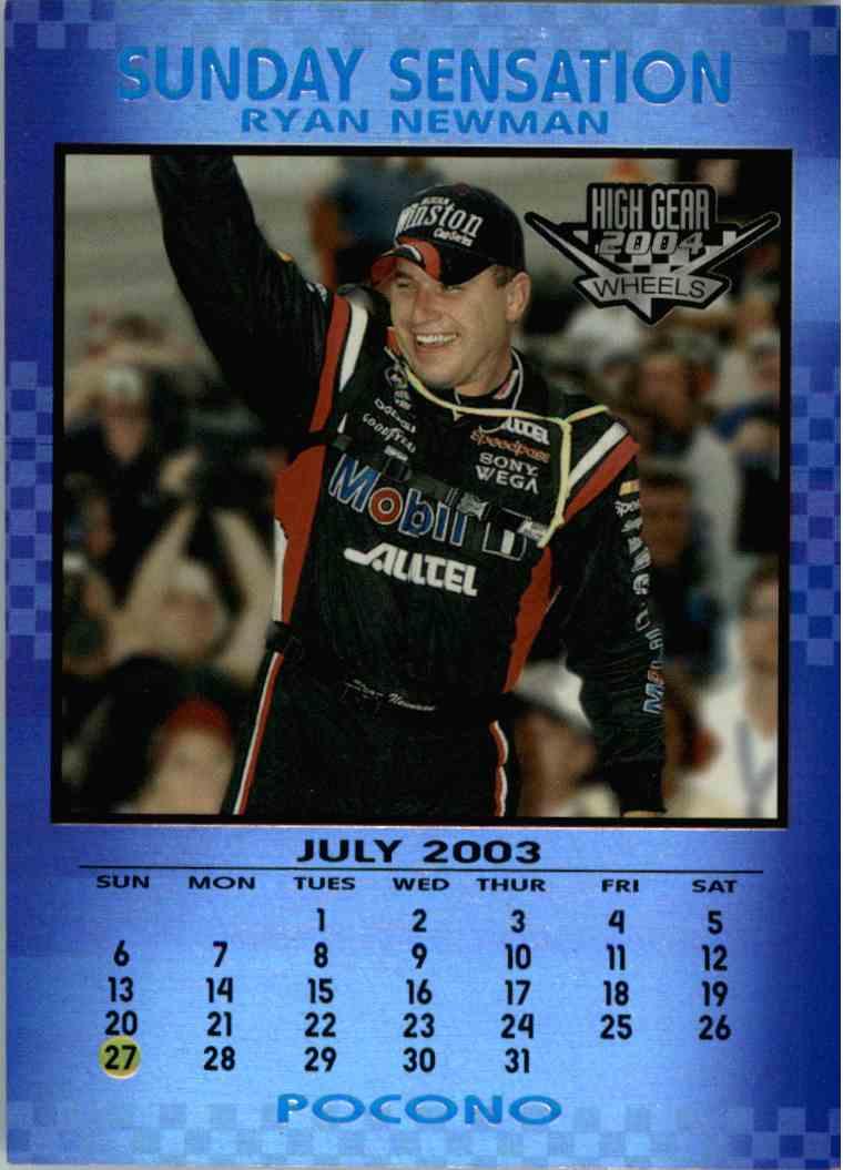 2004 Wheels High Gear Sunday Sensation Ryan Newman #SS6 card front image