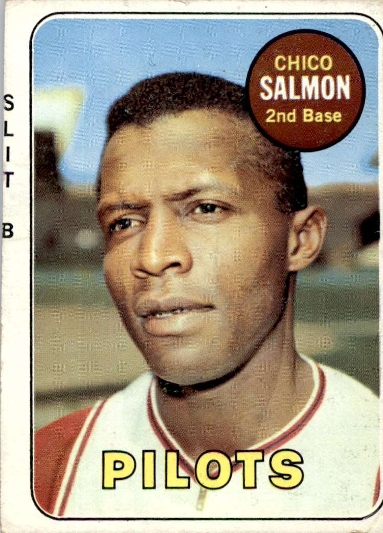 "1969 Topps Rare Error Miscut ""Slit B"" On Front Chico Salmon #62 card front image"
