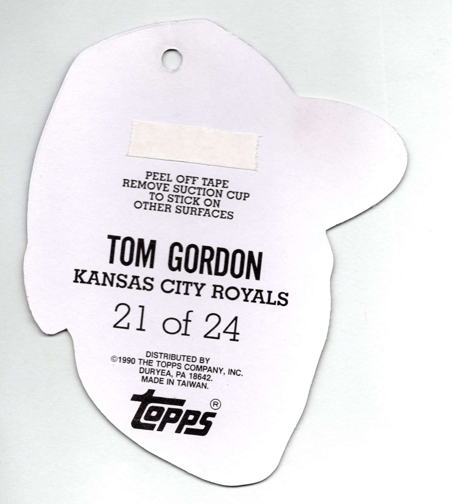 1990 Topps Heads Up Tom Gordon #21 card back image