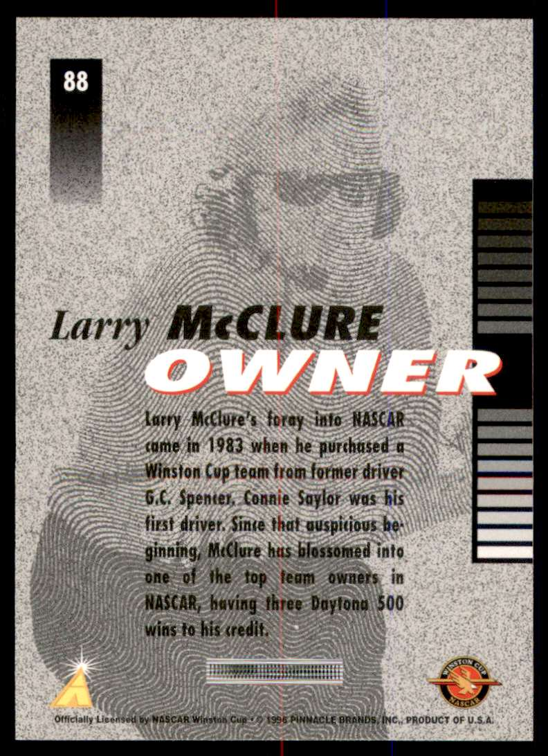 1996 Pinnacle Pole Position Larry McClure #88 card back image