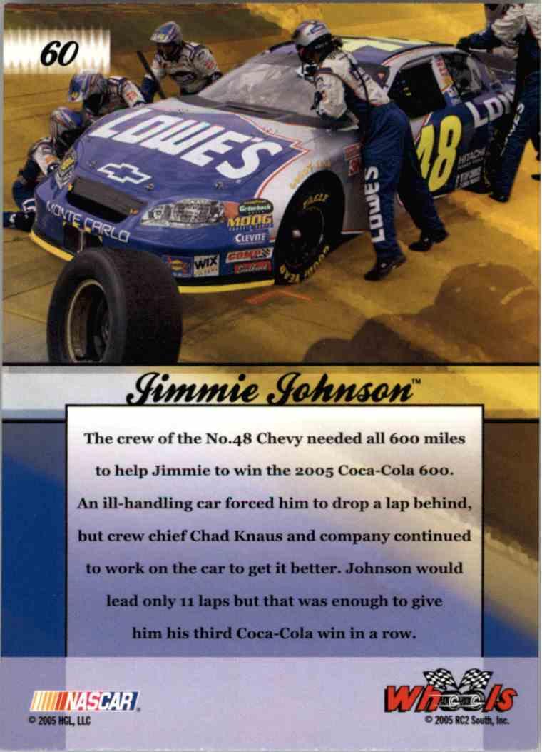 2005 Wheels American Thunder Dream Team Jimmie Johnson #60 card back image