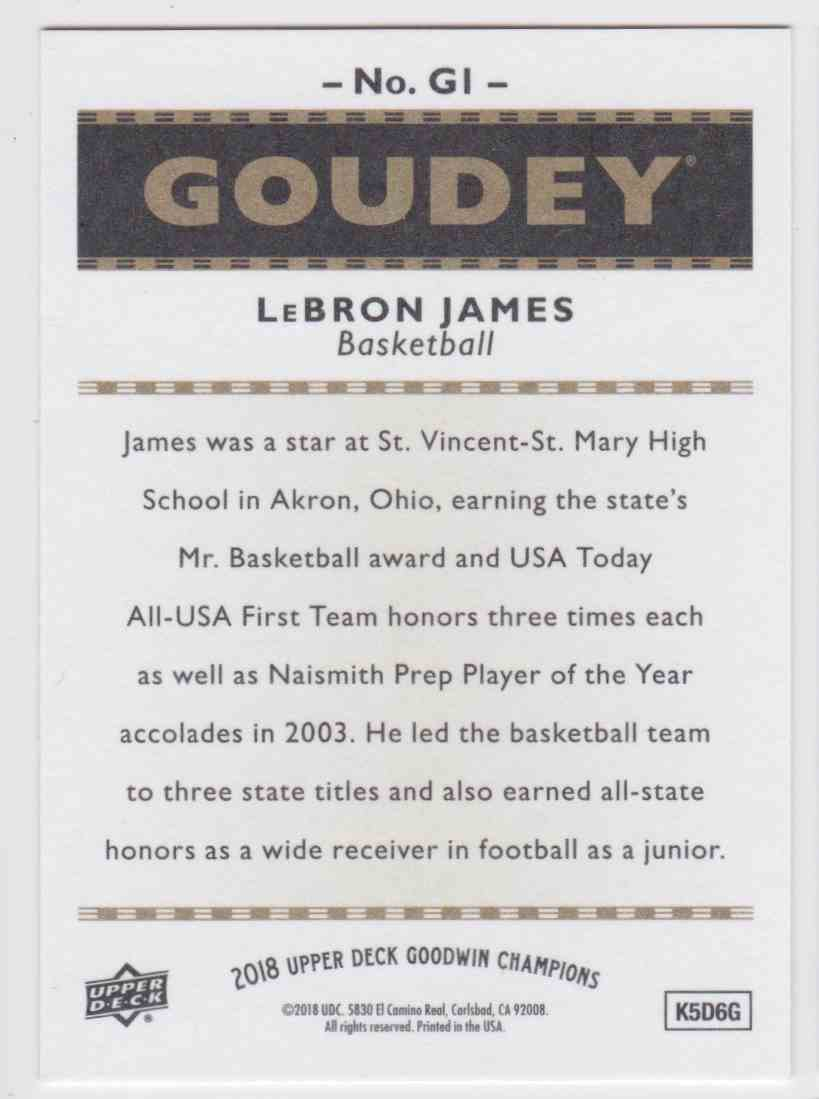 2018-19 UD Goodwin Champions Goudey SP LeBron James #G1 card back image