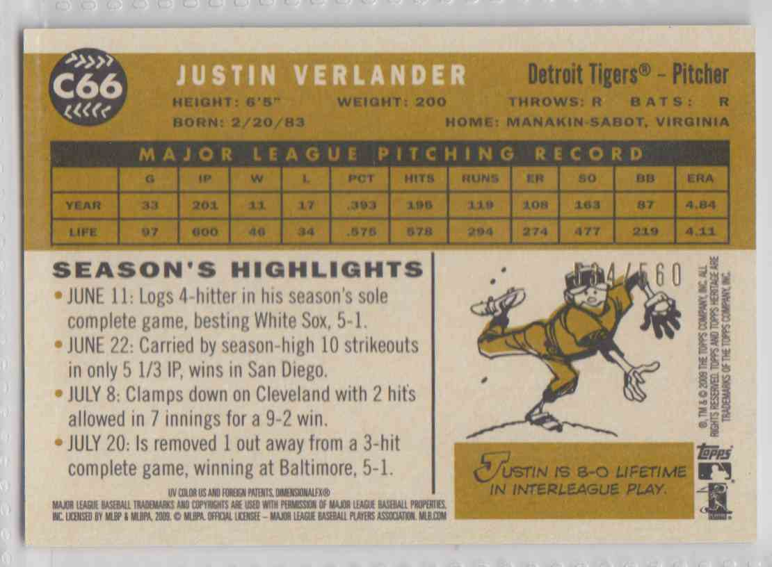 2009 Topps Heritage Chrome Refractor Justin Verlander #C66 card back image