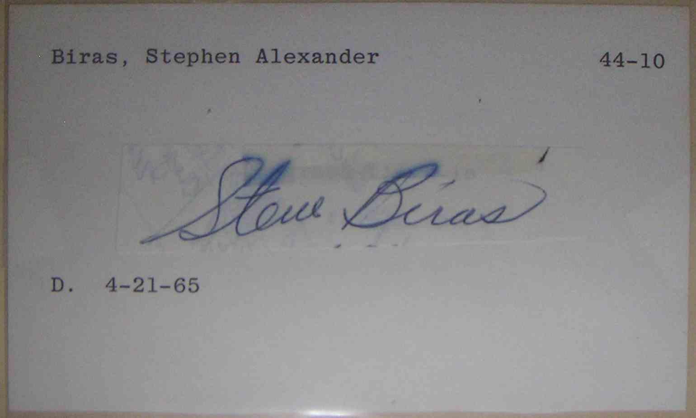 1944 3X5 Steve Biras card front image
