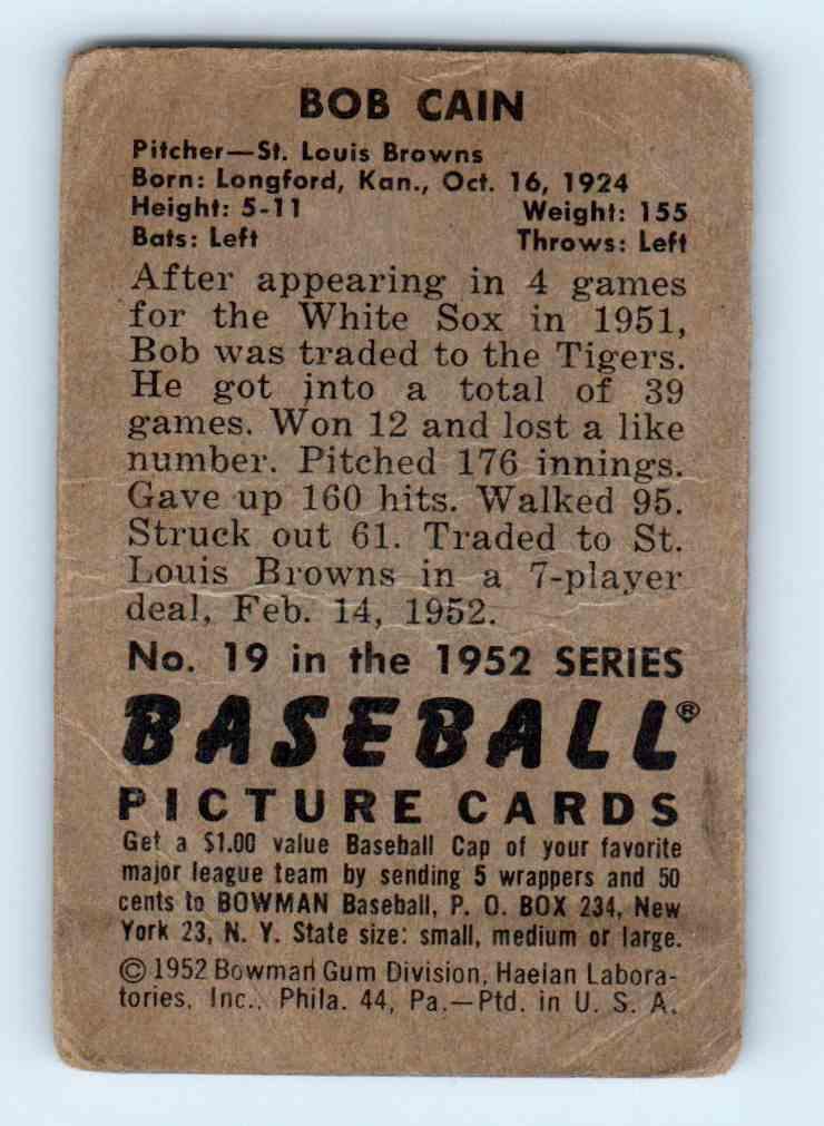 1952 Bowman Bob Cain #19 card back image