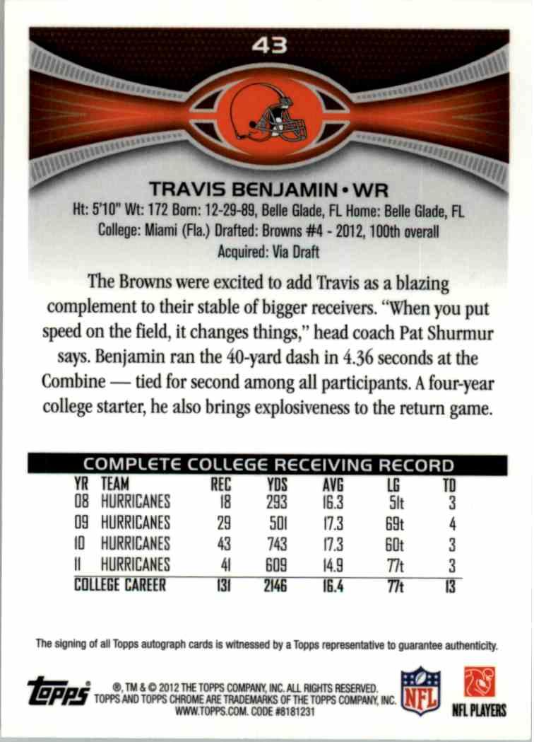 2012 Topps Chrome Travis Benjamin Auto #43 card front image