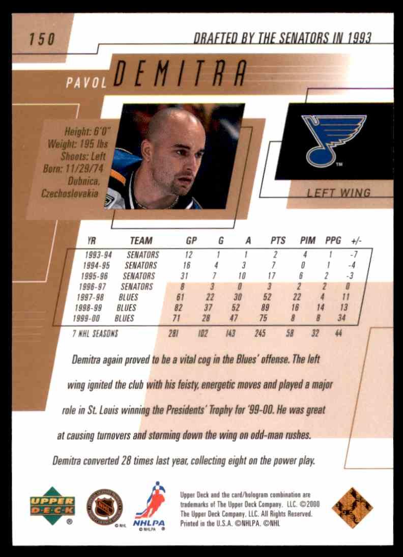 2000-01 Upper Deck Pavol Demitra #150 card back image