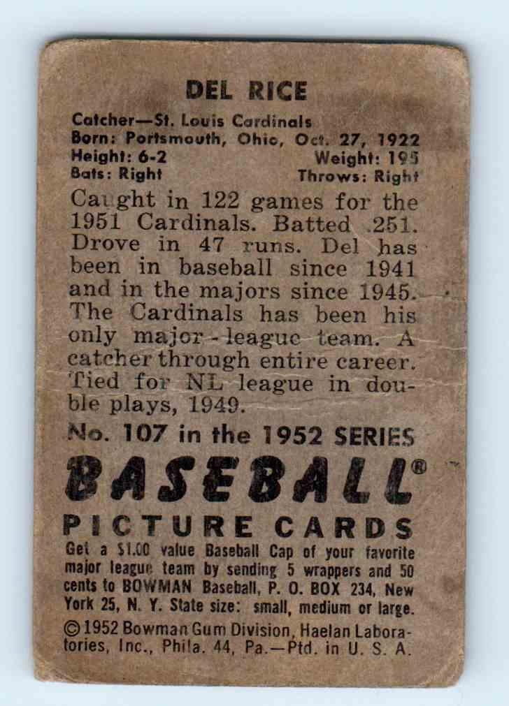 1952 Bowman Del Rice #107 card back image