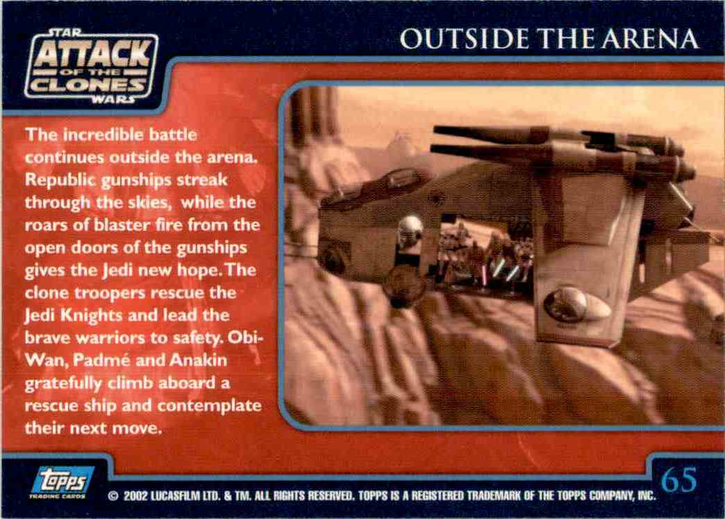 2002 Star Wars Attack Of The Clones Uk Outside The Arena #65 card back image