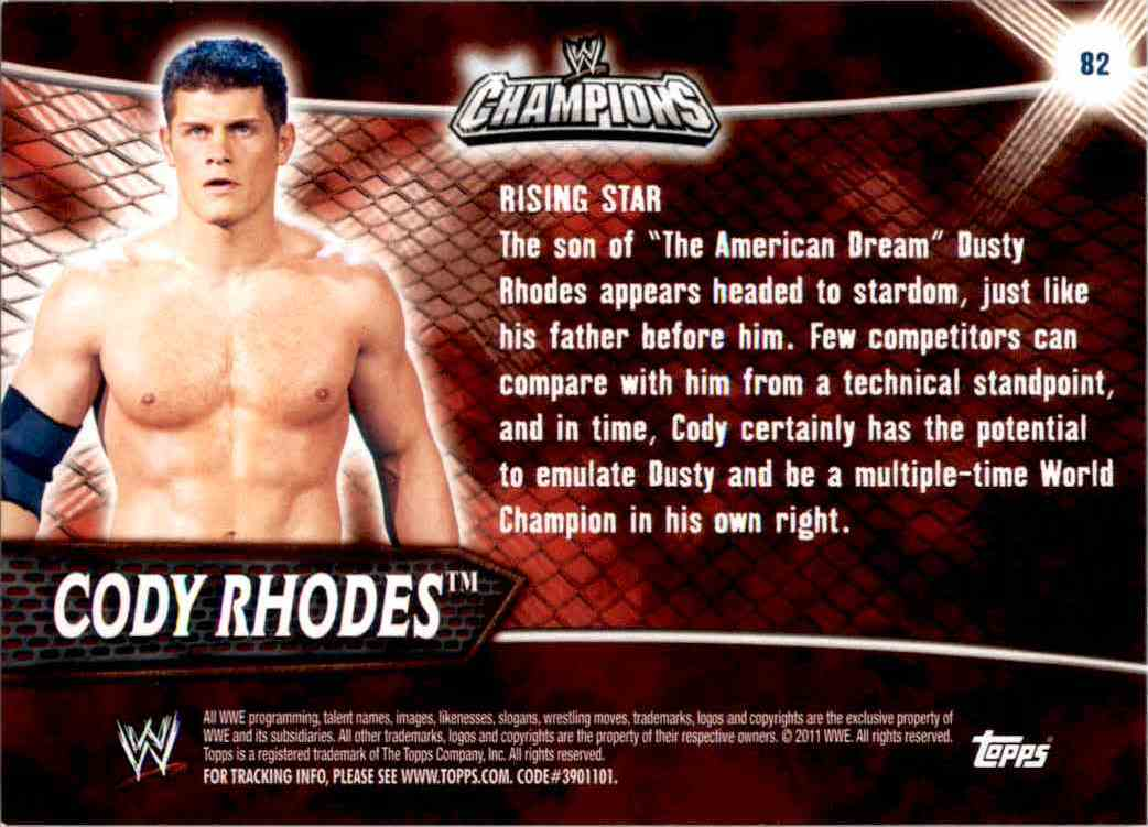 2011 Topps Wwe Champions Cody Rhodes #82 card back image