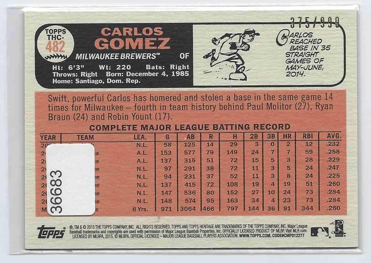 2015 Topps Heritage Chrome Carlos Gomez #THC482 card back image