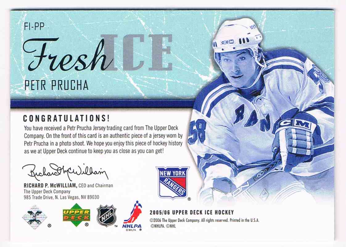 2005-06 Upper Deck Ice Fresh Ice Petr Prucha #FI-PP card back image