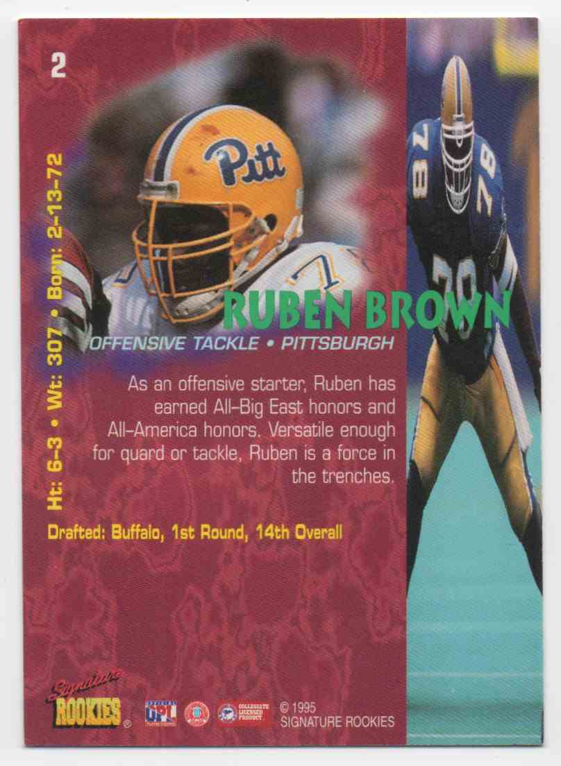 1995 Signature Rookies Tetrad Ruben Brown #2 card back image