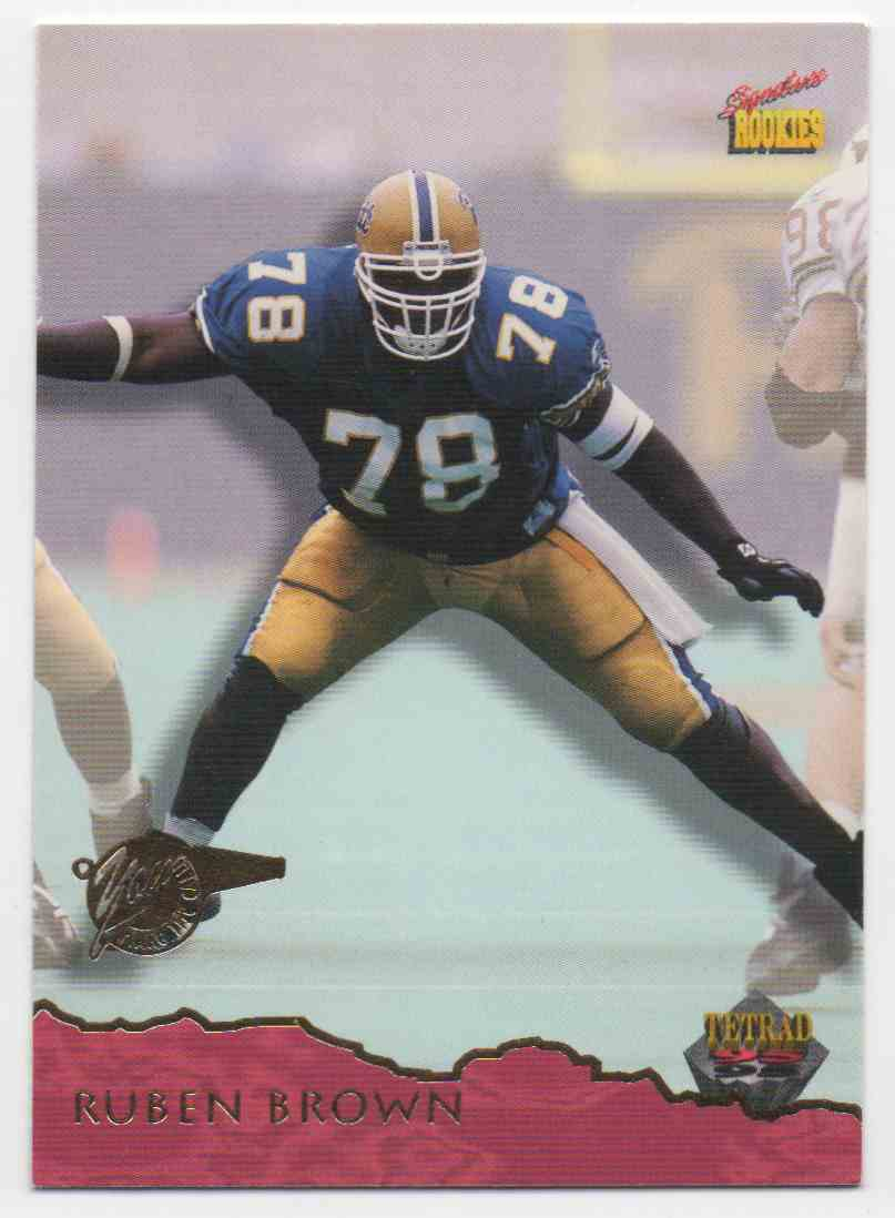 1995 Signature Rookies Tetrad Ruben Brown #2 card front image