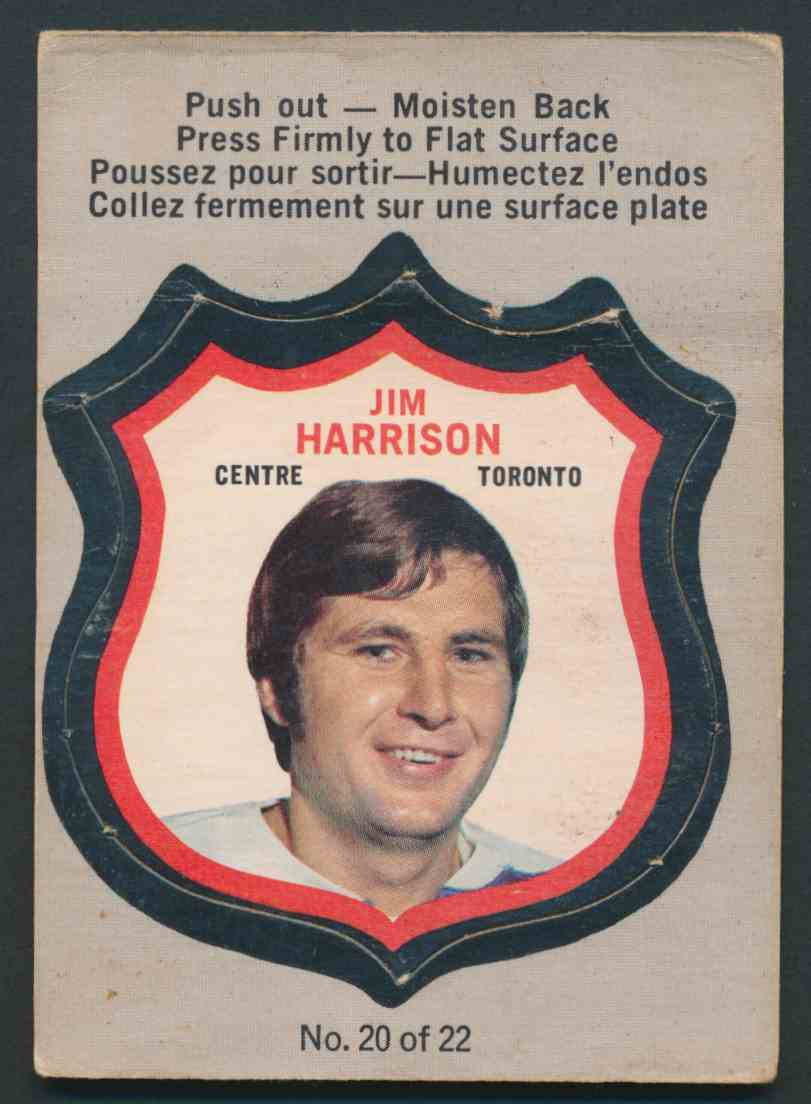 1972-73 O-Pee-Chee Jim Harrison #20 OF 22 card front image