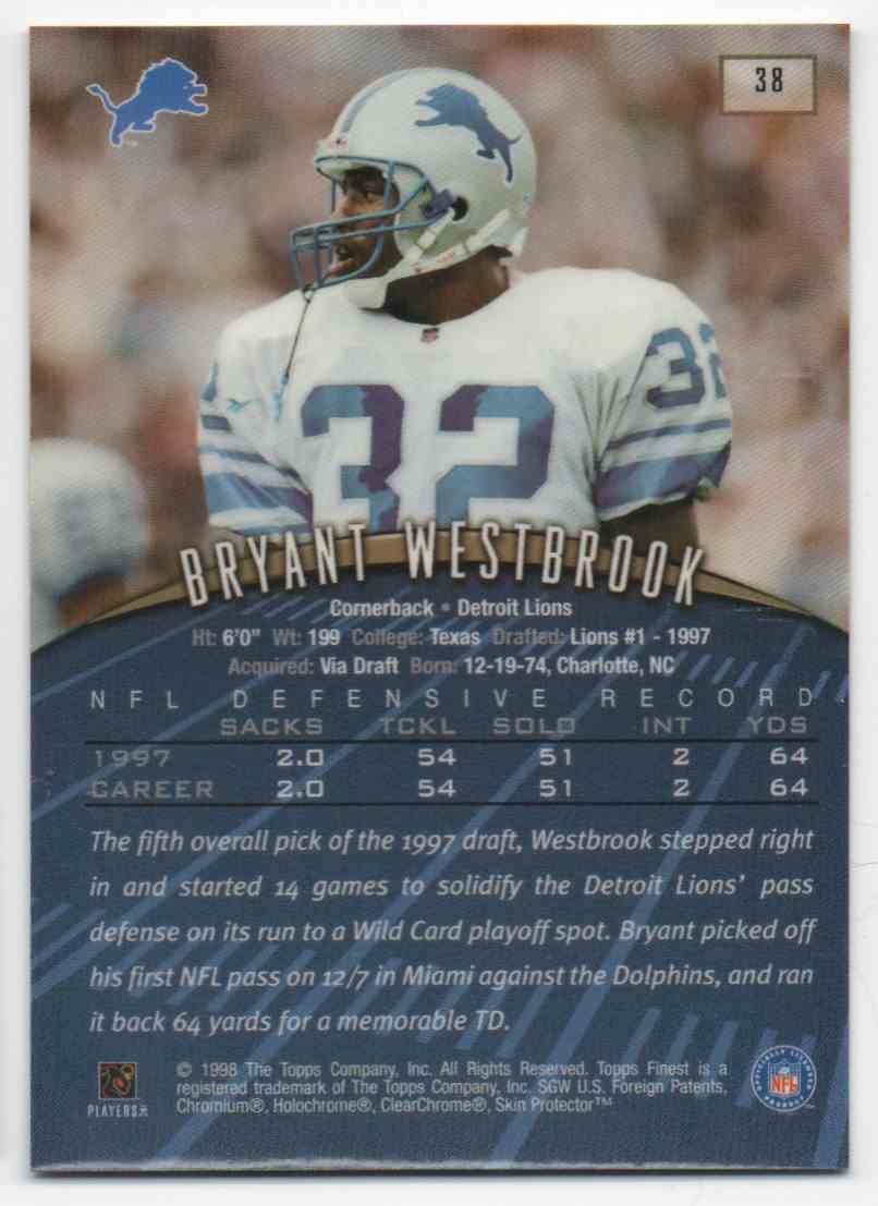 1998 Topps Finest Bryant Westbrook #38 card back image