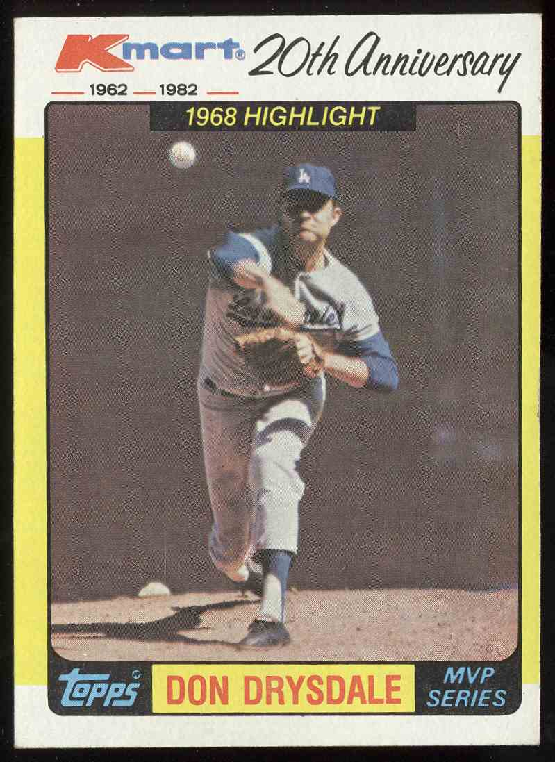 1982 Topps Kmart 20th Anniversary Don Drysdale 42 On Kronozio