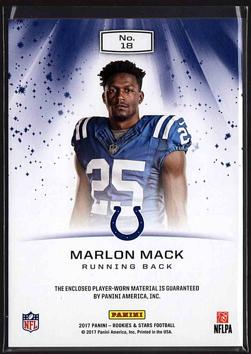 2017 Rookies And Stars Star Search Jerseys Marlon Mack #18 card back image