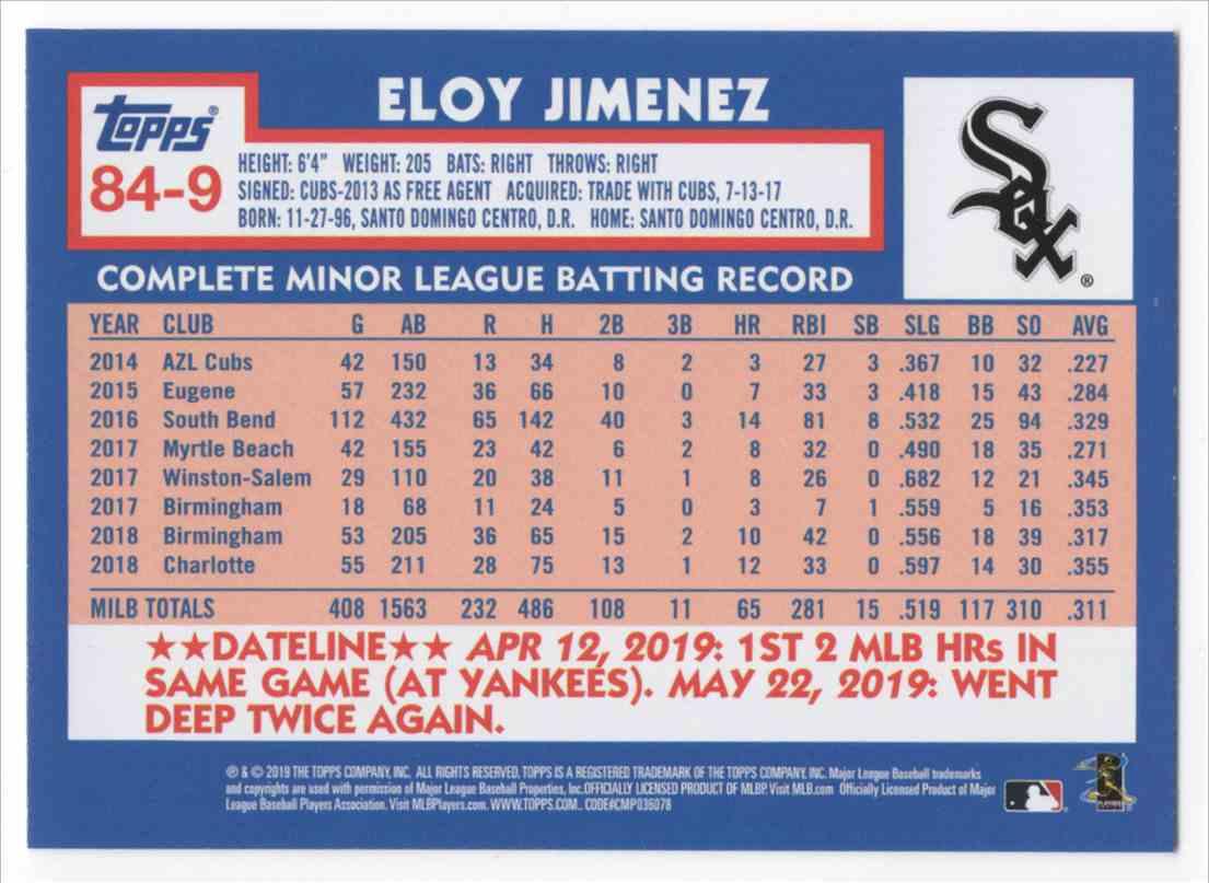 2019 Topps Update '84 Topps Eloy Jimenez #849 card back image