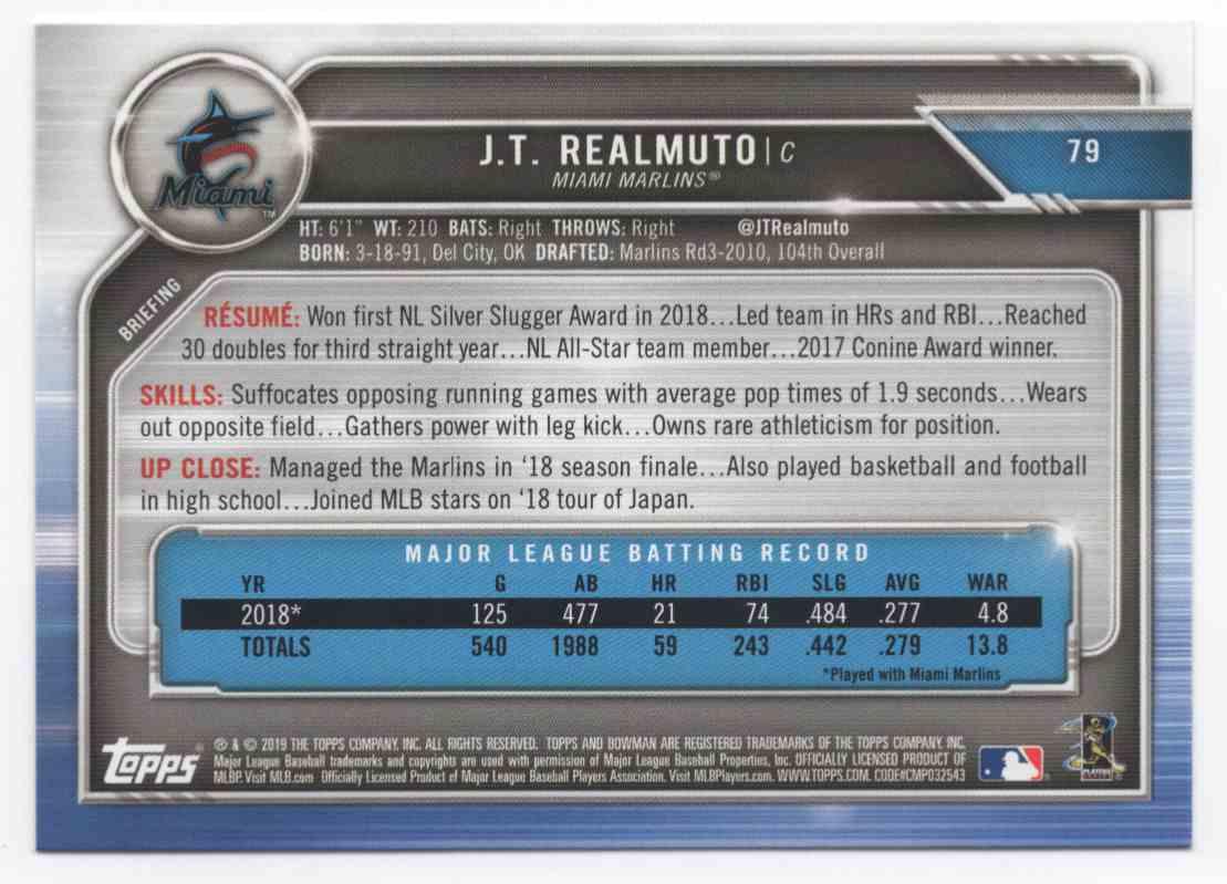 2019 Bowman J.T. Realmuto #79 card back image