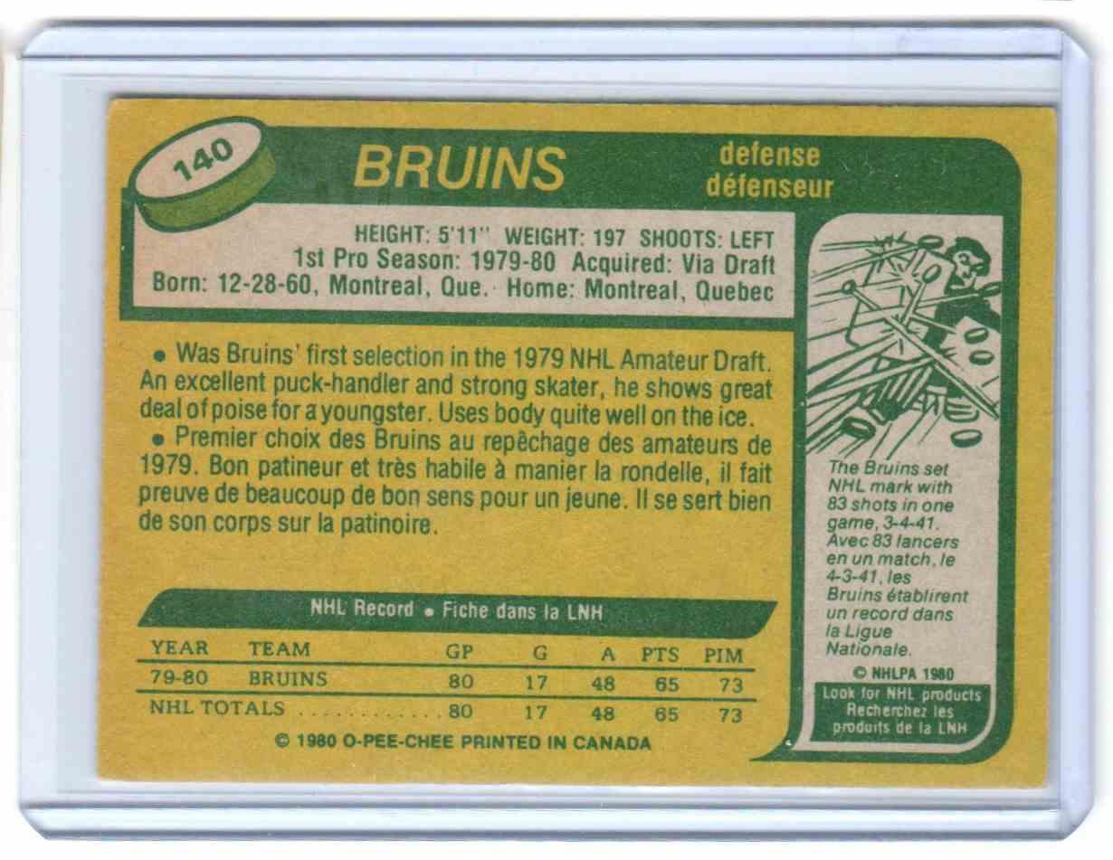 1980-81 O-Pee-Chee Ray Bourque #140 card back image