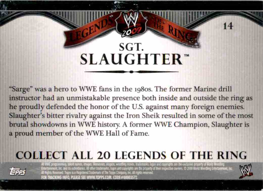 2009 Topps Wwe Legends Of The Ring Sgt. Slaughter #14 card back image