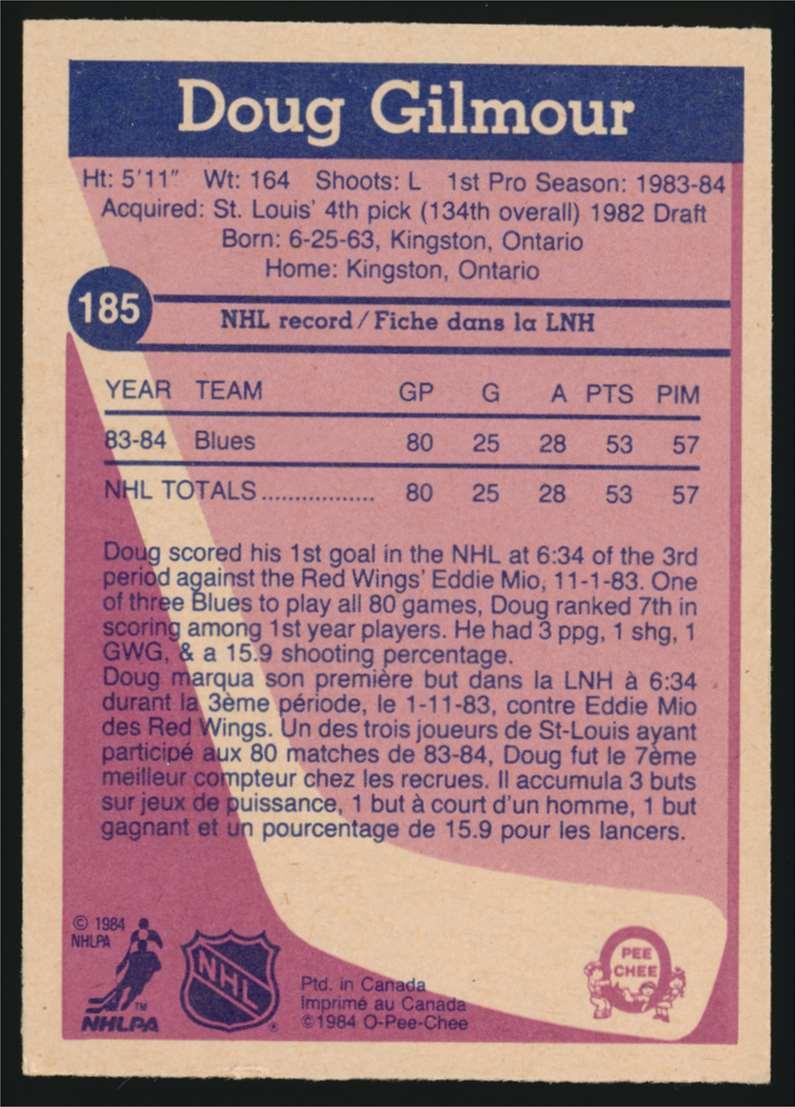 1984-85 OPC Doug Gilmour #185 card back image