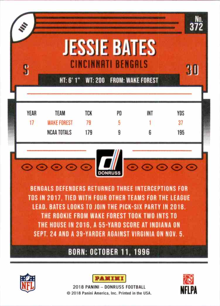 2018 Donruss Jessie Bates #372 card back image