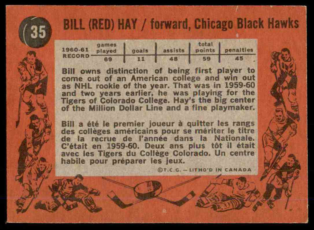 1961-62 Topps Bill Hay #35 card back image
