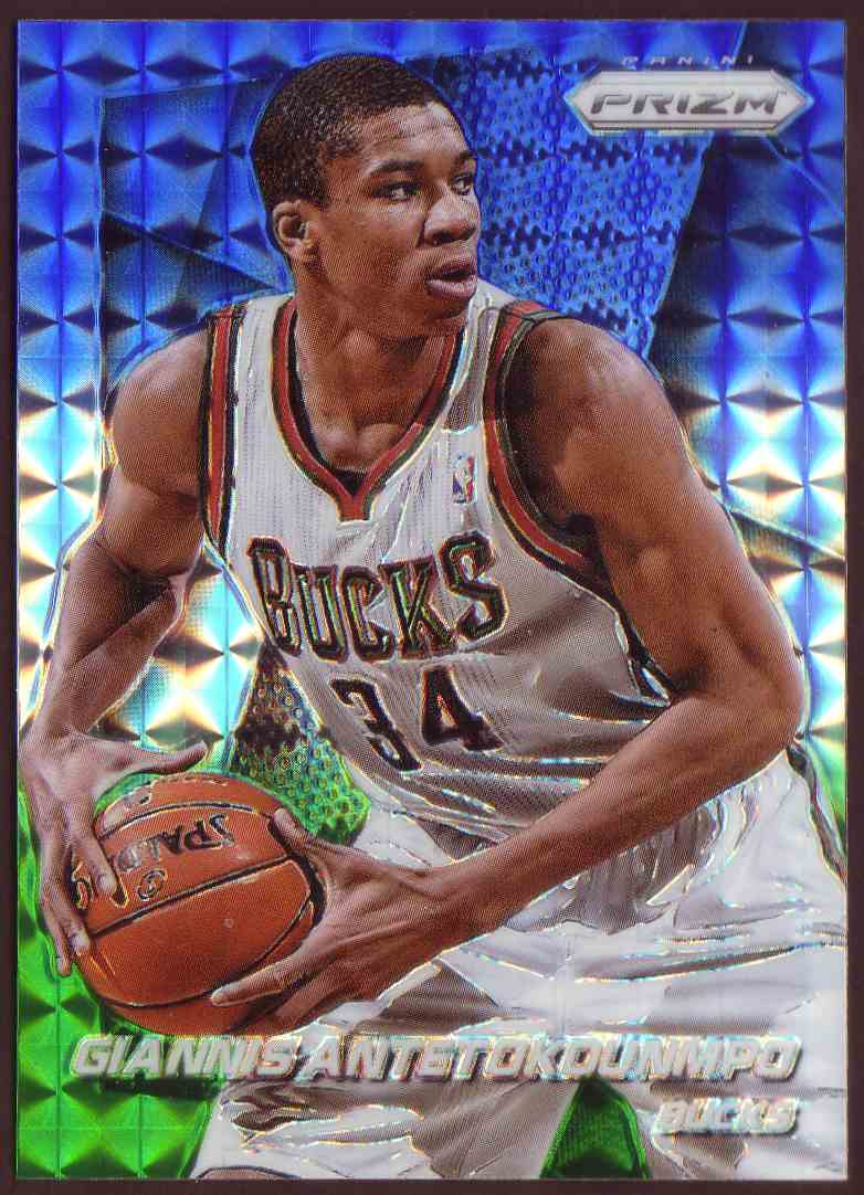 2014-15 Paninni Prizm Prizm Blue And Green Mosaic Giannis Antetokounmpo #73 card front image