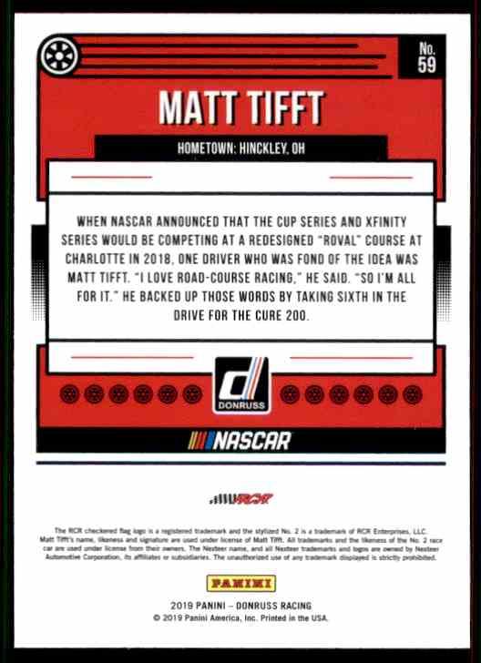 2019 Donruss Matt Tifft #59 card back image
