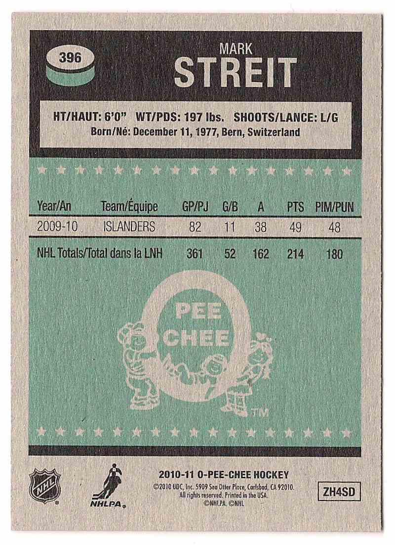 2010-11 O-Pee-Chee Retro Mark Streit #396 card back image