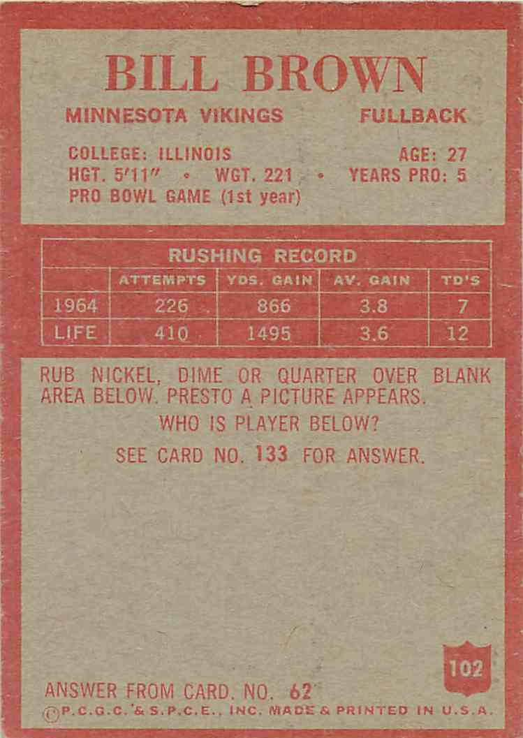 1965 Philadelphia Bill Brown #102 card back image