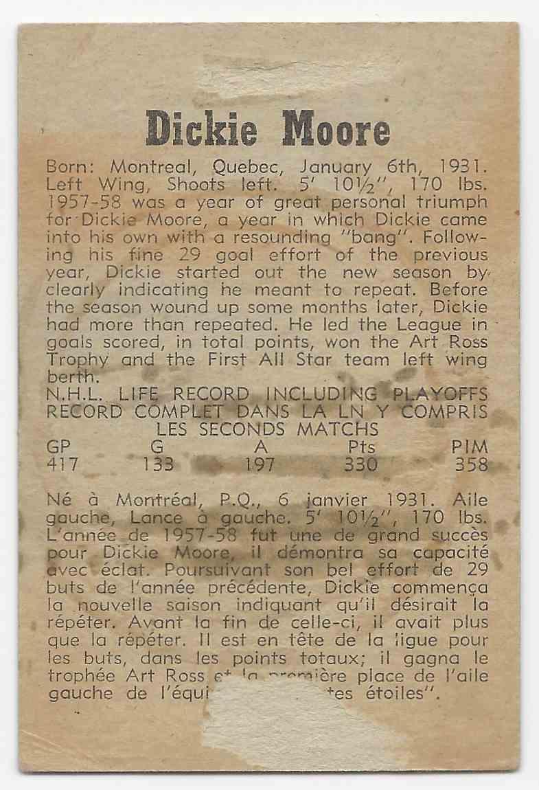 1958-59 Parkhurst Dickie Moore #8 card back image