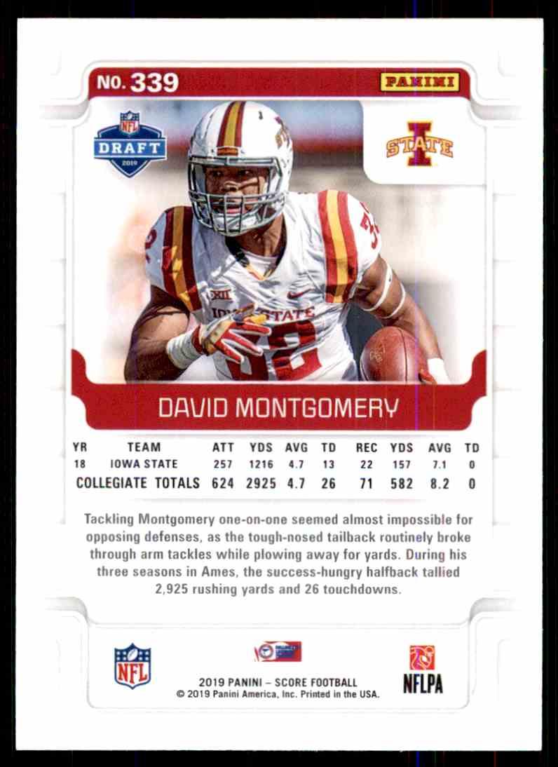 2019 Score David Montgomery #339 card back image