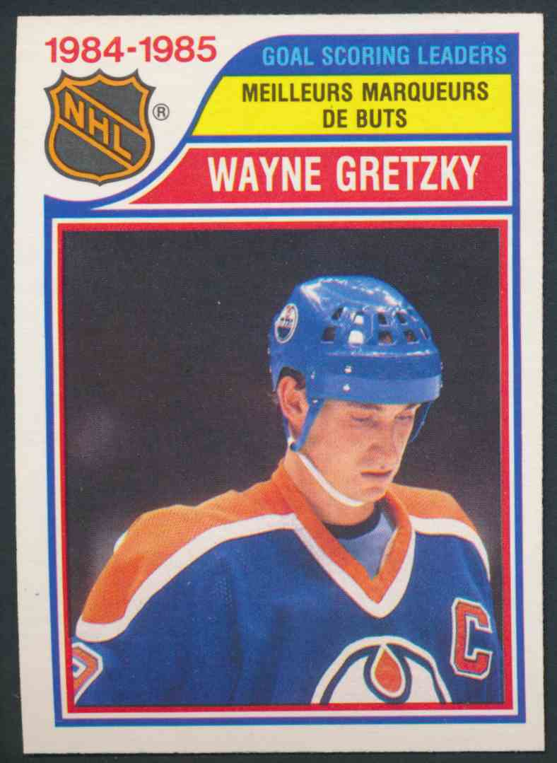 1985-86 O-Pee-Chee Goal Scoring Leaders Wayne Gretzky #257 card front image