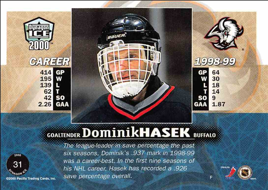 1999-00 Pacific Dynagon Ice Dominik Hasek #31 card back image
