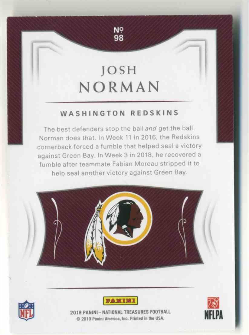 2018 Panini National Treasures Holo Silver Josh Norman #98 card back image