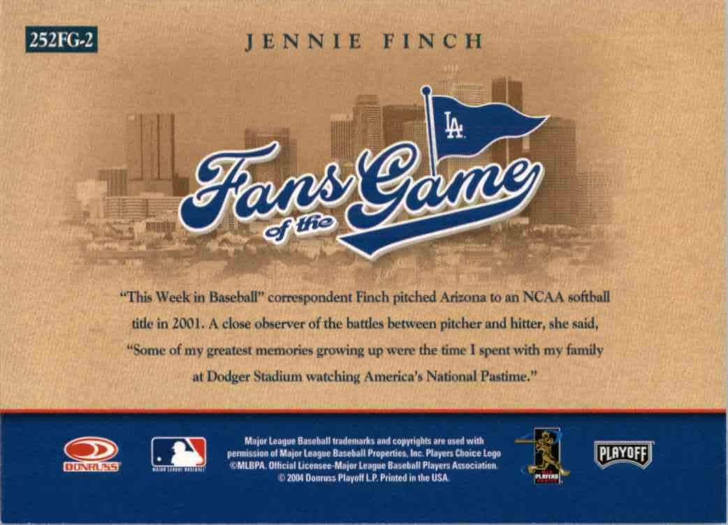 2004 Playoff Honors Fans Of The Game Jennie Finch #252FG-2 card back image