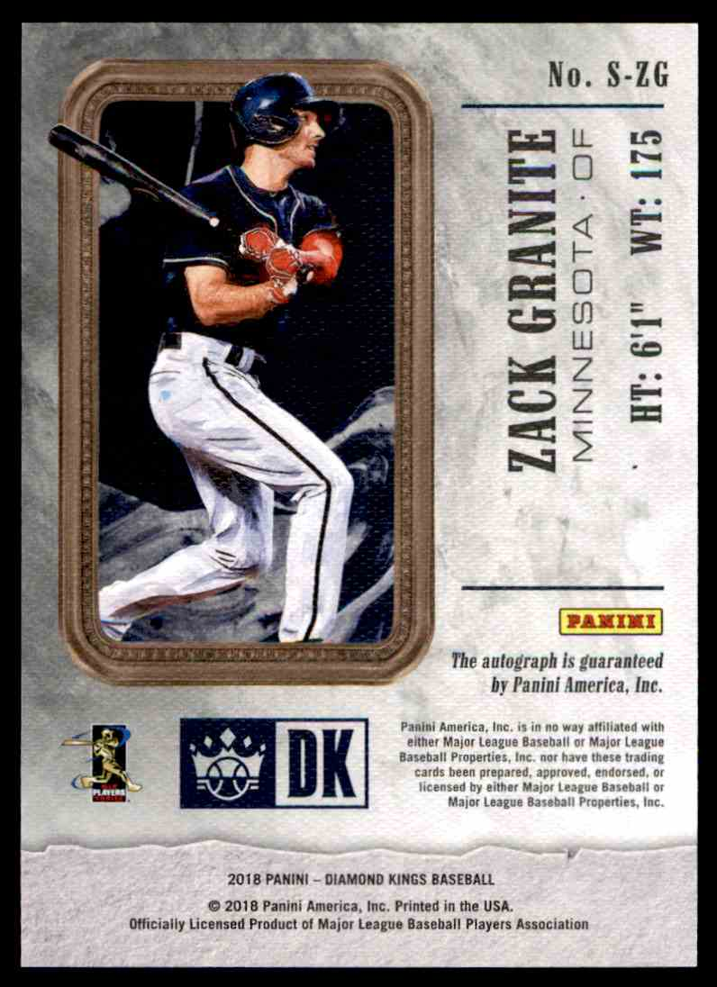 2018 Panini Diamond Kings Rookie Signatures Zack Granite #S-ZG card back image