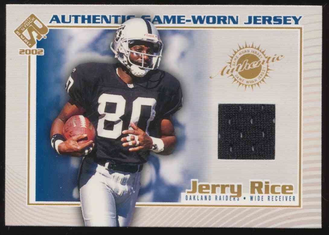 d97a22c5d 2002 Pacific Private Stock Reserve Authentic Game-Worn Jersey Jerry Rice   92 card front