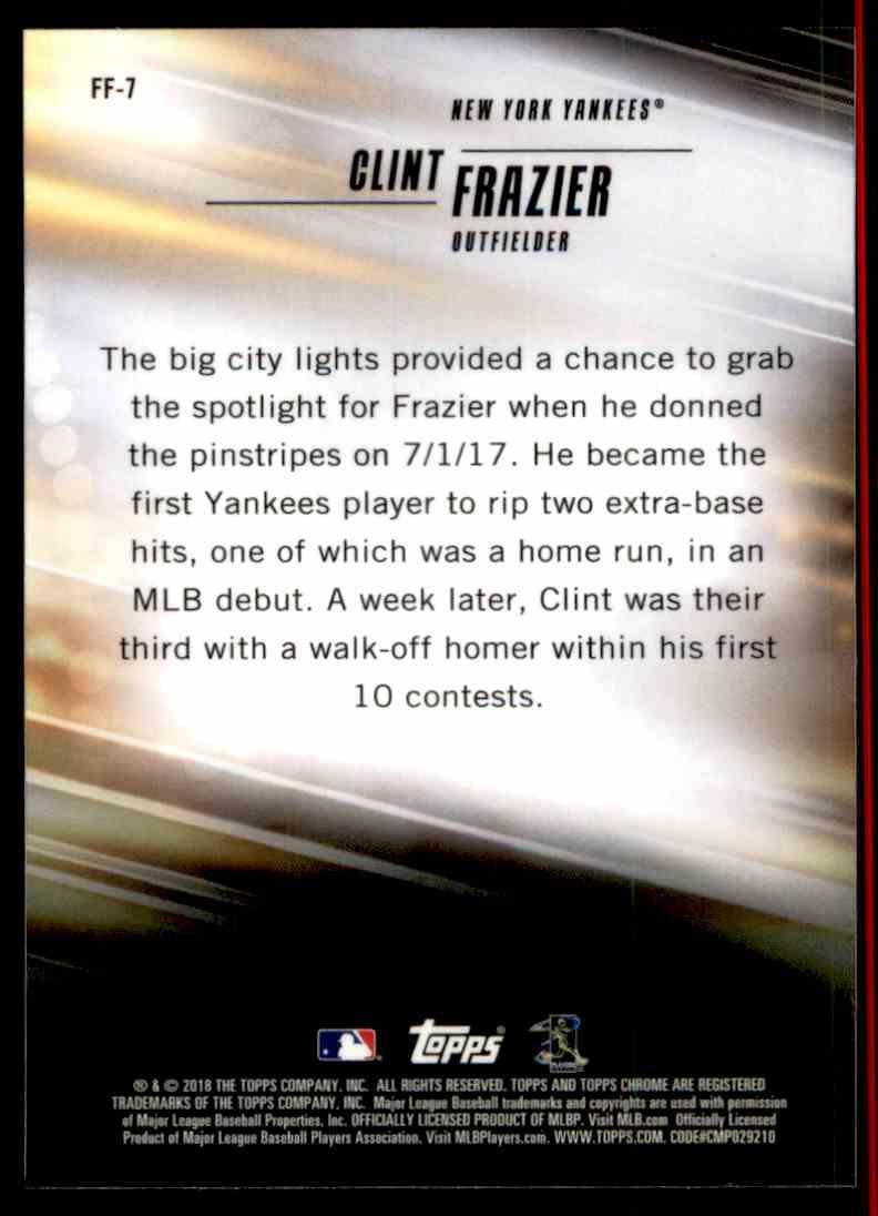 2018 Topps Chrome Freshman Flash Clint Frazier #FF-7 card back image