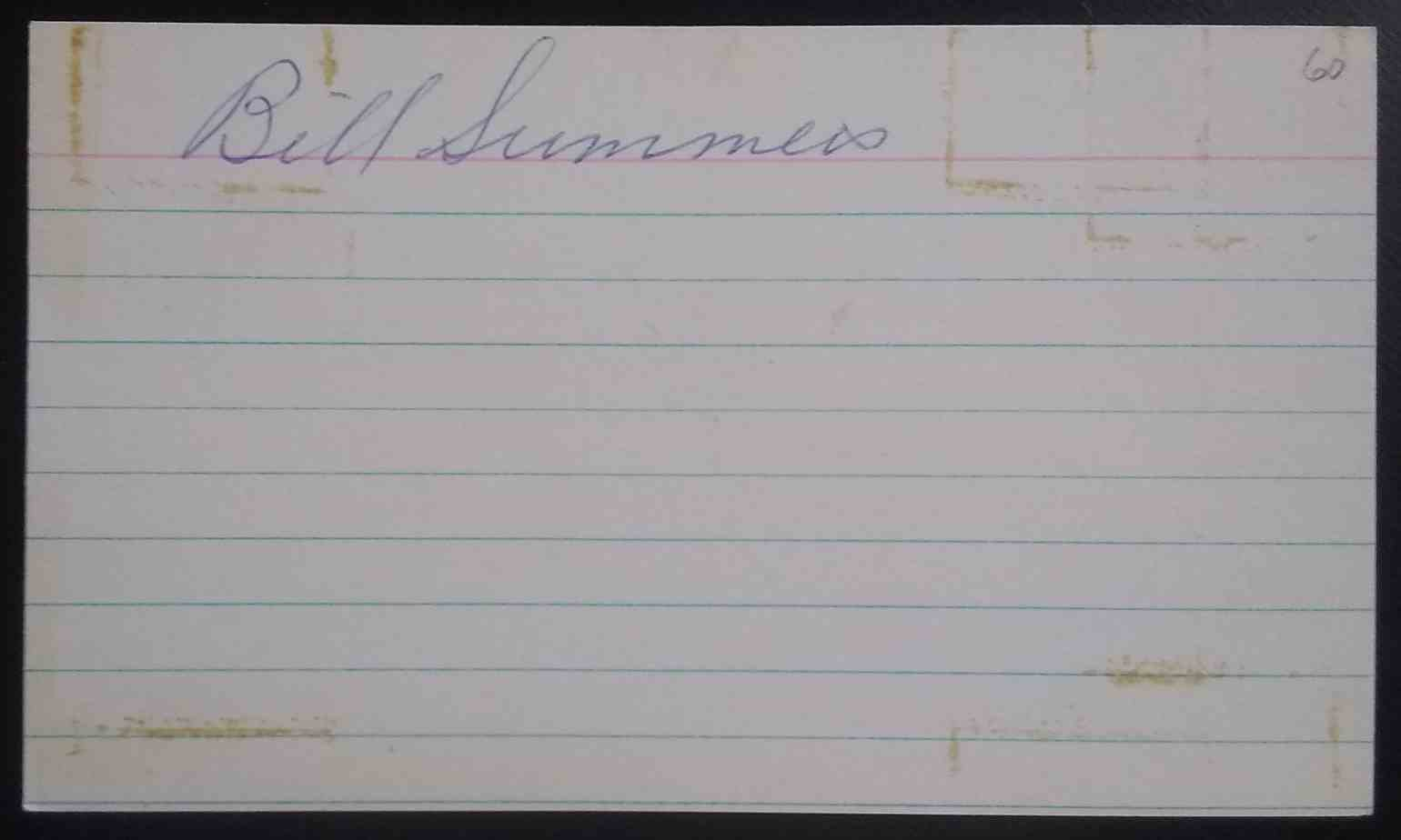 1933 3X5 Bill Summers card front image