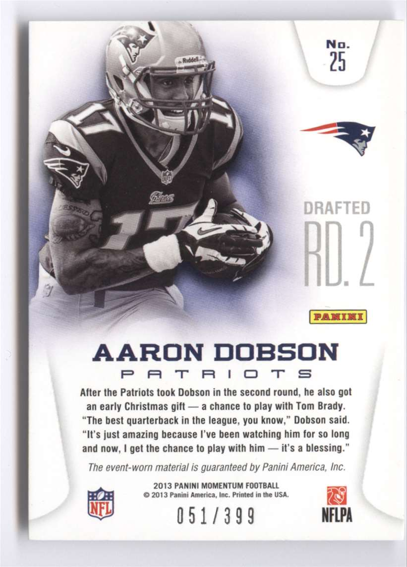 2013 Panini Momentum Rookie Team Threads Combo Materials Aaron Dobson #25 card back image